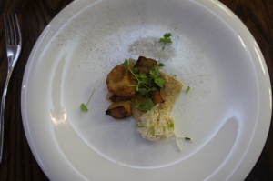 Roasted celeriac, cheese beigne, muscatel vinegar, served with Nyetimber classic cuvee 2008