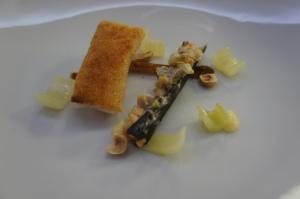 Pollock, hazelnut crust, clam chowder, baked salsify, served with Chardonnay Veramonte Reserva 2010