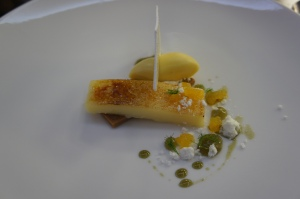 Lemon tart, passion fruit, green tea meringue, served with Pineau de Charentes Vielle Reserve Or Cognac